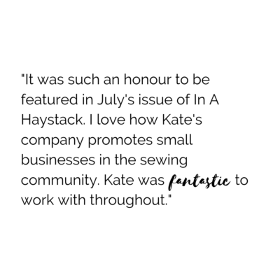 I love how Kate's company promotes small businesses in the sewing community